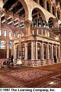 Mausoleum containing the remains of Saint John The Baptist in Omayyad Mosque, Damascus
